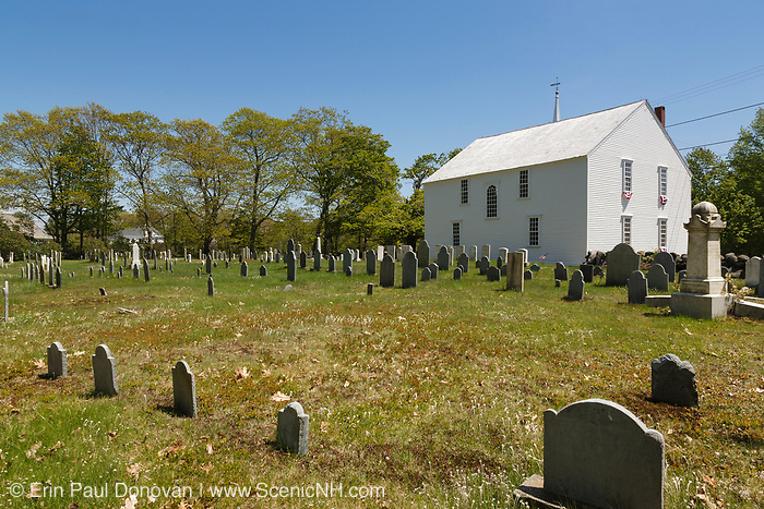 The old Meetinghouse in Harpswell, Maine, which is on the New England seacoast. This meeting house stands exactly as it did in the 1700s. It is a National Historic Landmark.