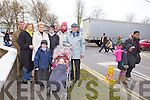 CHAOS: Residents from Oakview Estate in Tralee are being subjected to abusive behaviour from people illegally parking in front of their homes at school pickup times. Pictured from l-r were: Ann Farnon, Pidgie Cavanagh, Cllr. Pat Hussey, Dan Raele, Jack and Eileen Moriarty, Nicholas Quirke and children Denis and Evelyn Moriarty.