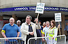 Tube Strike <br /> inside and outside Liverpool Street Station London, Great Britain <br /> 6th August 2015 <br /> <br /> RMT workers who are on strike picketing outside Liverpool Street station. <br /> <br /> Photograph by Elliott Franks <br /> Image licensed to Elliott Franks Photography Services