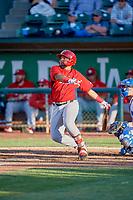 Mario Sanjur (30) of the Orem Owlz bats against the Ogden Raptors at Lindquist Field on June 22, 2019 in Ogden, Utah. The Owlz defeated the Raptors 7-4. (Stephen Smith/Four Seam Images)