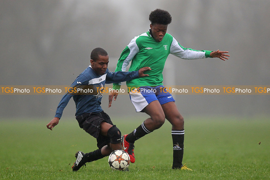 Young London Meteors (green) vs Wounded Knee, Hackney & Leyton Sunday League Albert Daniels Senior Cup Football at Hackney Marshes, Hackney, England on 13/12/2015
