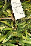 Lewisburg Farmers Market. Silver queen corn in crates.