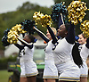 Mya Morris and the Baldwin varsity cheerleaders entertain the crowd during a Nassau County Conference I varsity football game against Oceanside at Baldwin High School on Saturday, Oct. 6, 2018.