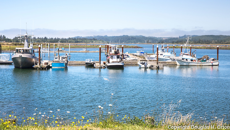 Small boaat harbor, marina, in Tokeland, WA, located on Willapa Bay at Toke Point.