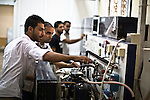 Institute of Industrial Technology - Students - 22 October 2013 - Tripoli - Libya --  Current students at the Institute of Industrial Technology in Tripoli's Injila district, get to grips with machines in one of the institute's laboratories - PHOTO: Iason ATHANASIADIS / EUP-IMAGES