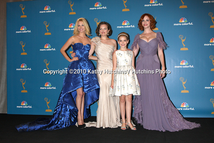 LOS ANGELES - AUG 29:  January Jones, Elisabeth Moss, Kiernan Shipka, Christina Hendricks in the Press Room at the 2010 Emmy Awards at Nokia Theater at LA Live on August 29, 2010 in Los Angeles, CA
