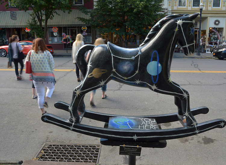 "A view of ""Rockin' Horse Constellation"" created by artist, Ellse Adelle Westlund, one of the ""Rockin' Around Saugerties"" theme Statues on display throughout the Village of Saugerties, NY, on Saturday, June 3, 2017. Photo by Jim Peppler. Copyright/Jim Peppler-2017."