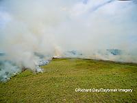 63863-02712 Summer prairie burn Prairie Ridge State Natural Area - aerial - Marion Co. IL