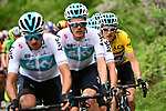 The peleton with Team Sky and race leader Geraint Thomas (WAL) Yellow Jersey on the front during Stage 7 of the 2018 Criterium du Dauphine 2018 running 136km from Moutiers to Saint Gervais Mont Blanc, France. 10th June 2018.<br /> Picture: ASO/Alex Broadway | Cyclefile<br /> <br /> <br /> All photos usage must carry mandatory copyright credit (© Cyclefile | ASO/Alex Broadway)