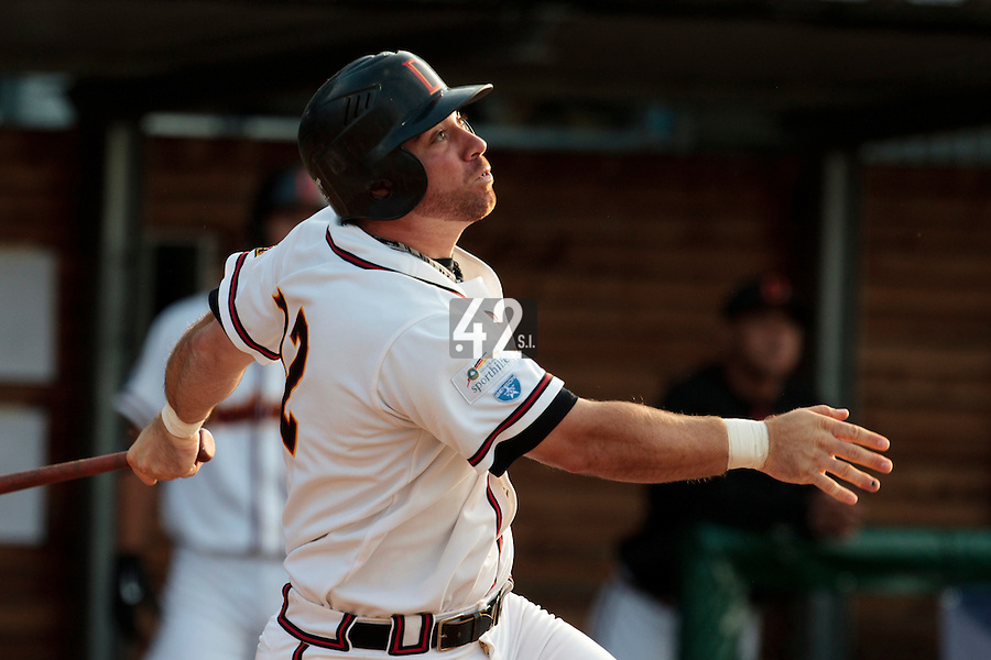 27 july 2010: Dominik  Wulf of Germany is seen at bat during Germany 10-9 victory over France, in day 5 of the 2010 European Championship Seniors, in Stuttgart, Germany.