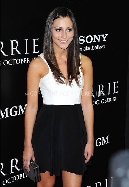 WWW.ACEPIXS.COM<br /> <br /> October 7 2013, LA<br /> <br /> Actress Zoe Belkin arrives at the premiere of  'Carrie' at ArcLight Cinemas on October 7, 2013 in Hollywood, California.<br /> <br /> By Line: Peter West/ACE Pictures<br /> <br /> <br /> ACE Pictures, Inc.<br /> tel: 646 769 0430<br /> Email: info@acepixs.com<br /> www.acepixs.com