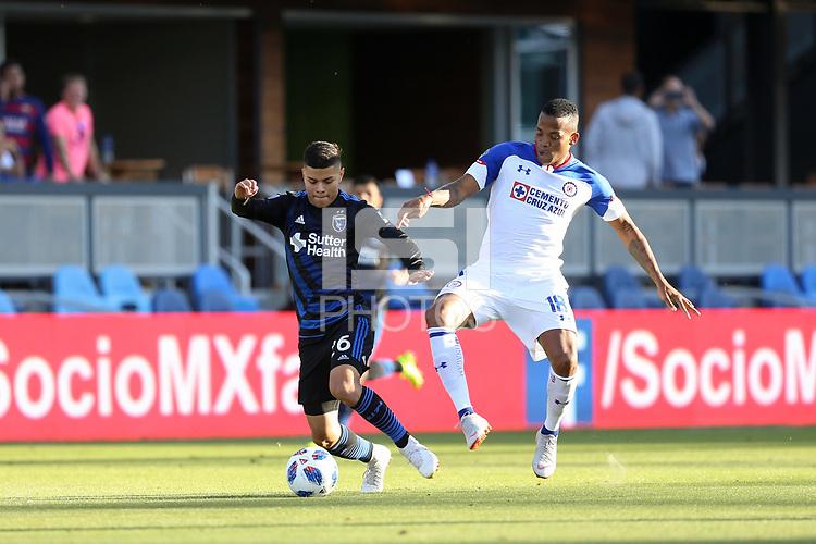 San Jose, CA - Saturday October 13, 2018: Eric Calvillo, Andrés Rentería during a friendly match between the San Jose Earthquakes and Cruz Azul at Avaya Stadium.