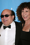 "Danny Devito and Rhea Perlman.Attending the Star-Studded Benefit, ""Some Enchanted Evening"",  for EIF's National Colorectal Cancer Research Alliane and the Jay Monahan Center for Gastrointestinal Health on Cunard's Queen Mary 2 in New York City..April 24, 2004.."