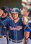 31 May 2018: New Hampshire Fisher Cats outfielder Connor Panas comes home to score in the 6th inning against the Portland Sea Dogs at Northeast Delta Dental Stadium in Manchester, NH. The Sea Dogs defeated the Fisher Cats 12-9 in extra innings. Mandatory Credit: Ed Wolfstein Photo *** RAW (NEF) Image File Available ***