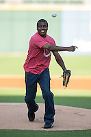 """Actor Antonio """"Tony"""" Todd throws out a ceremonial first pitch prior to the International League game between the Columbus Clippers and the Charlotte Knights at BB&T BallPark on May 3, 2016 in Charlotte, North Carolina.  The Clippers defeated the Knights 8-3.  (Brian Westerholt/Four Seam Images)"""