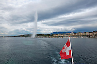 Swiss, Genève, September 14, 2015, Tennis,   Davis Cup, Swiss-Netherlands, Lake Geneve<br /> Photo: Tennisimages/Henk Koster
