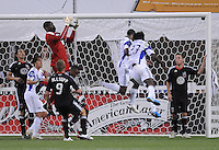 DC United goalkeeper Bill Hamid (28) jumps to make a save. DC United defeated The Kansas City Wizards  2-0 at RFK Stadium, Wednesday May 5, 2010.