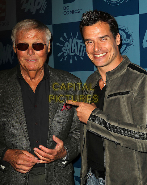 Adam West, Antonio Sabato Jr..Warner Bros. Consumer Products and Junk Food Clothing Launch 1960's Classic TV Series Product Line, at Meltdown Comics, Los Angeles, California, USA, 21st March 2013..half length  sunglasses grey gray suit shirt tweed plaid checked tanned finger  pointing.CAP/ADM/KB.©Kevan Brooks/AdMedia/Capital Pictures.