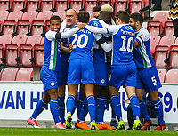Wigan Athletic's Reece James celebrates scoring from a free kick with teamates<br /> <br /> Photographer Alex Dodd/CameraSport<br /> <br /> The EFL Sky Bet Championship - Wigan Athletic v Leeds United - Sunday 4th November 2018 - DW Stadium - Wigan<br /> <br /> World Copyright &copy; 2018 CameraSport. All rights reserved. 43 Linden Ave. Countesthorpe. Leicester. England. LE8 5PG - Tel: +44 (0) 116 277 4147 - admin@camerasport.com - www.camerasport.com