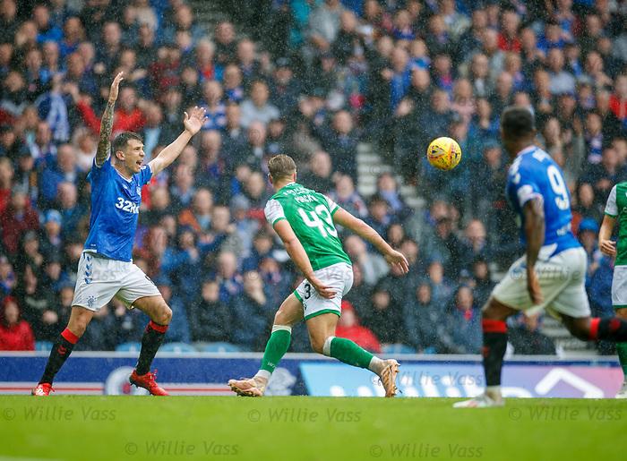 11.08.2019 Rangers v Hibs: Sean Mackie handballs and is sent off