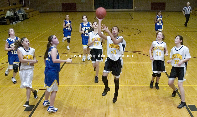 WATERBURY, CT. 21 December 2006--122106SV08--#23 Johanna Hernandez of Kaynor Tech. puts up a shot against Norwich Tech. during basketball action in Waterbury Thursday.<br /> Steven Valenti Republican-American
