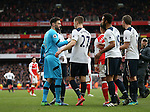 Tottenham's Hugo Lloris congratulates Kevin Wimmer at the final whistle during the Premier League match at the Emirates Stadium, London. Picture date November 6th, 2016 Pic David Klein/Sportimage