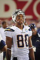 Aug. 22, 2009; Glendale, AZ, USA; San Diego Chargers wide receiver Malcom Floyd against the Arizona Cardinals during a preseason game at University of Phoenix Stadium. Mandatory Credit: Mark J. Rebilas-