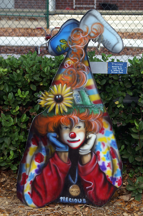 Free standing painting of Precious in front of the elementary school in Lake Placid