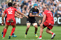 Zach Mercer of Bath Rugby in possession. Heineken Champions Cup match, between Bath Rugby and Stade Toulousain on October 13, 2018 at the Recreation Ground in Bath, England. Photo by: Patrick Khachfe / Onside Images