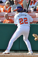 Catcher Spencer Kieboom #22 of the Clemson Tigers awaits a pitch during  a game against the North Carolina Tar Heels at Doug Kingsmore Stadium on March 9, 2012 in Clemson, South Carolina. The Tar Heels defeated the Tigers 4-3. Tony Farlow/Four Seam Images.