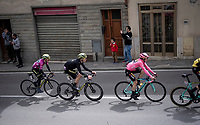 Maglia Rosa / overall leader Primoz Roglic (SVK/Jumbo-Visma) is closely followed by runner-up (and wearer of the Maglia Ciclamino / points leader) Simon Yates (GBR/Mitchelton-Scott)<br /> <br /> Stage 2: Bologna to Fucecchio (200km)<br /> 102nd Giro d'Italia 2019<br /> <br /> ©kramon
