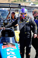 Jul. 17, 2010; Sonoma, CA, USA; NHRA top fuel dragster driver Mike Strasburg during qualifying for the Fram Autolite Nationals at Infineon Raceway. Mandatory Credit: Mark J. Rebilas-