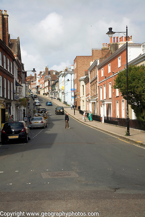 Uphill view of High Street in the town centre of Lewes, East Sussex, Englan