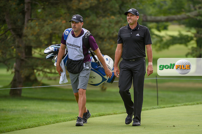 Sergio Garcia (ESP) and his brother/caddie head down 3 during 1st round of the World Golf Championships - Bridgestone Invitational, at the Firestone Country Club, Akron, Ohio. 8/2/2018.<br /> Picture: Golffile | Ken Murray<br /> <br /> <br /> All photo usage must carry mandatory copyright credit (© Golffile | Ken Murray)