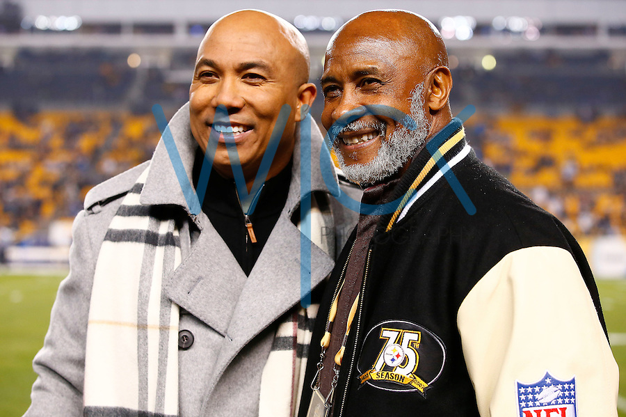 Former Pittsburgh Steelers Hines Ward and Lynn Swann pose for a picture prior to the game between the Pittsburgh Steelers and the Indianapolis Colts at Heinz Field on December 6, 2015 in Pittsburgh, Pennsylvania. (Photo by Jared Wickerham/DKPittsburghSports)