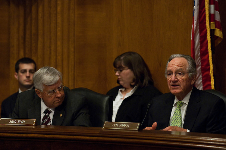 "WASHINGTON, DC - April 13: Ranking member Michael B. Enzi, R-Wyo., and Chairman Tom Harkin, D-Iowa, during the Senate Health, Education, Labor and Pensions hearing on the reauthorization of ""No Child Left Behind."" (Photo by Scott J. Ferrell/Congressional Quarterly)"