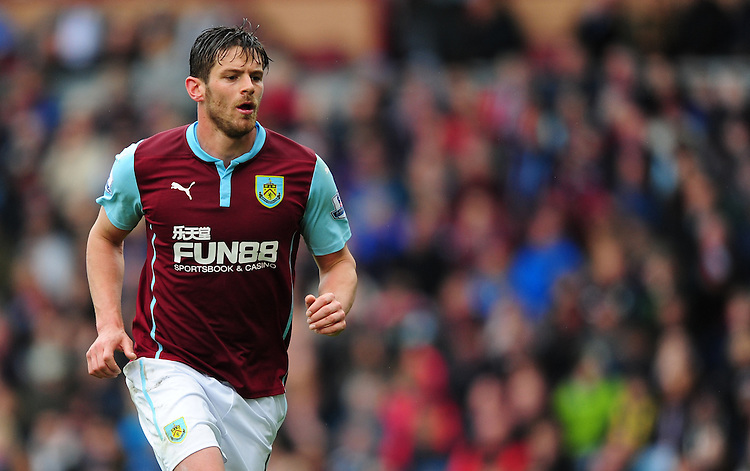 Burnley's Lukas Jutkiewicz<br /> <br /> Photographer Chris Vaughan/CameraSport<br /> <br /> Football - Barclays Premiership - Burnley v Leicester City - Saturday 25th April 2015 - Turf Moor - Burnley<br /> <br /> &copy; CameraSport - 43 Linden Ave. Countesthorpe. Leicester. England. LE8 5PG - Tel: +44 (0) 116 277 4147 - admin@camerasport.com - www.camerasport.com
