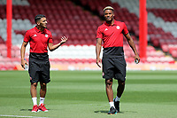 Brentford's recent signings Said Benrahma (left) and Julian Jeanvier discuss tactics pre-match during Brentford vs Rotherham United, Sky Bet EFL Championship Football at Griffin Park on 4th August 2018