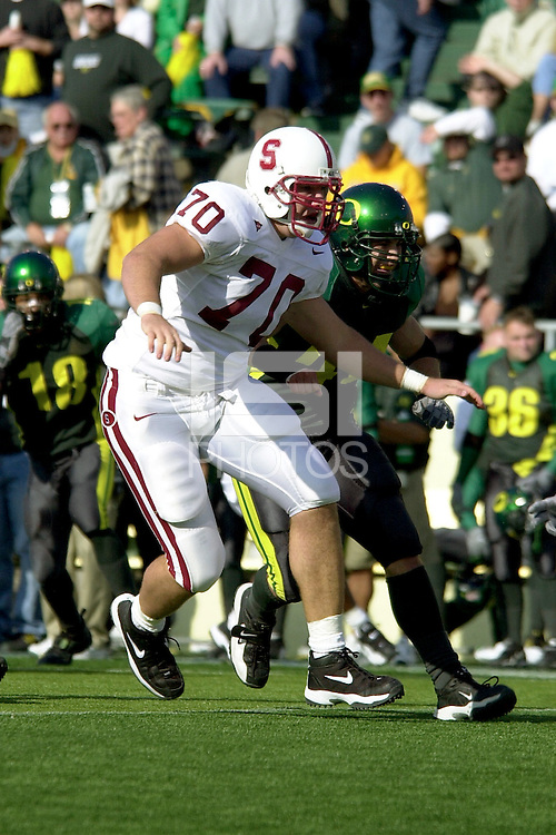Drew Caylor in the second quarter during Stanford's 49-42 win over #5 ranked Oregon on October 20, 2001 in Eugene, OR.<br />