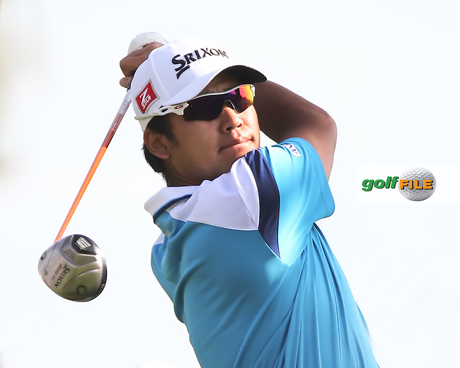 16 FEB 13 Hidecki Matsuyama on the 3rd tee during Sunday's Final Round of The Northern Trust Open at Riviera Country Club in Pacific Palisades,California. photo credit :  (kenneth e. dennis/kendennisphoto.com)