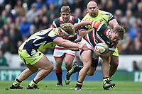 Jack Roberts of Leicester Tigers takes on the Sale Sharks defence. Aviva Premiership match, between Leicester Tigers and Sale Sharks on April 29, 2017 at Welford Road in Leicester, England. Photo by: Patrick Khachfe / JMP