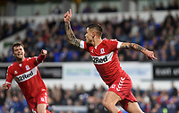 Middlesbrough's Mo Besic celebrates scoring the opening goal <br /> <br /> Photographer Hannah Fountain/CameraSport<br /> <br /> The EFL Sky Bet Championship - Ipswich Town v Middlesbrough - Tuesday 2nd October 2018 - Portman Road - Ipswich<br /> <br /> World Copyright &copy; 2018 CameraSport. All rights reserved. 43 Linden Ave. Countesthorpe. Leicester. England. LE8 5PG - Tel: +44 (0) 116 277 4147 - admin@camerasport.com - www.camerasport.com