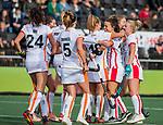 AMSTELVEEN - Marlena Rybacha (OR) heeft gescoord tijdens de hoofdklasse hockeywedstrijd dames,  Amsterdam-Oranje Rood (2-2) .   COPYRIGHT KOEN SUYK