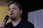 British comedian Eddie Izzard speaking at an anti-Scottish independence Better Together campaign rally at Community Central Hall, Glasgow. The event was staged by Better Together who were campaigning to prevent an independent Scotland from leaving the United Kingdom. On the 18th of September 2014, the people of Scotland voted in a referendum to decide whether the country's union with England should continue or Scotland should become an independent nation once again.