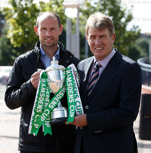 Sandy Jardine of Rangers (R) and Allan Johnston of Queen of the South at the Ramsdens Cup draw today