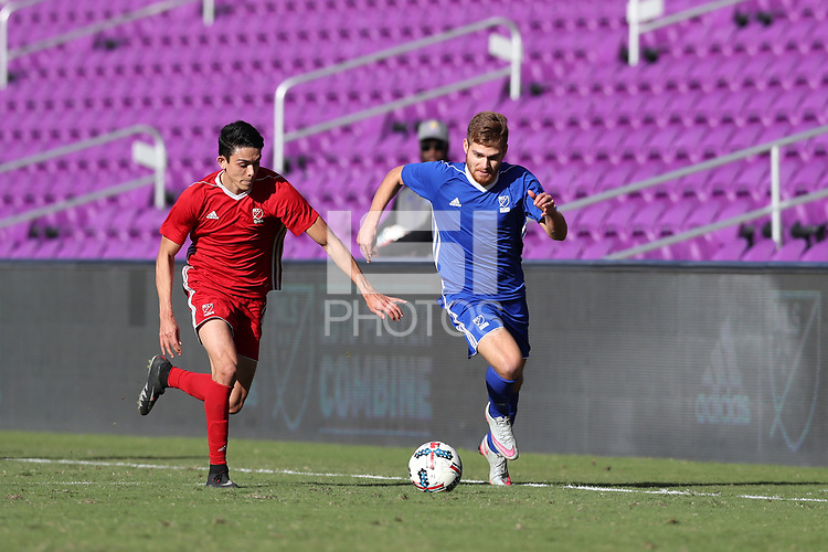 Orlando, Florida - Monday January 15, 2018: Alan Winn and Justin Fiddes. Match Day 2 of the 2018 adidas MLS Player Combine was held Orlando City Stadium.