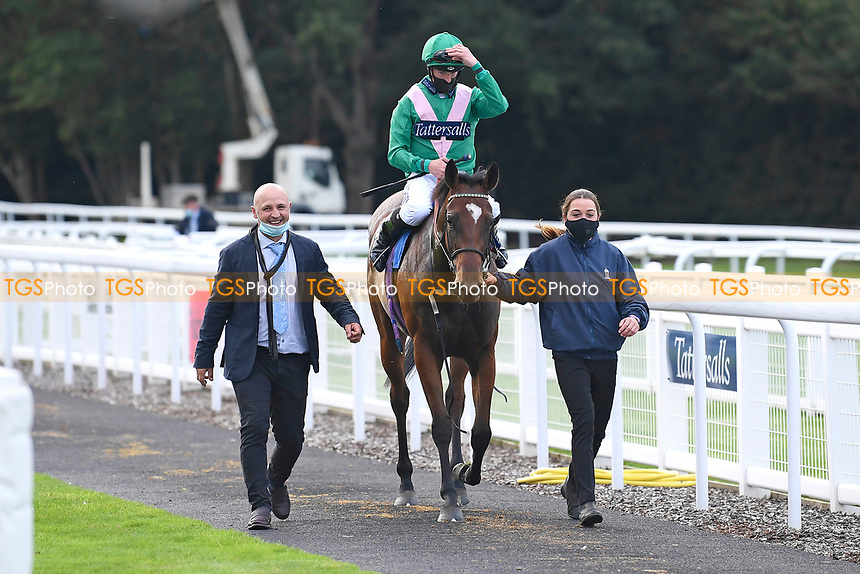 Winner of The Venture Security Handicap Stakes Molly Shaw ridden by Jack Mitchell and trained by Chris Wall is led into the Winners enclosure during Horse Racing at Salisbury Racecourse on 11th September 2020