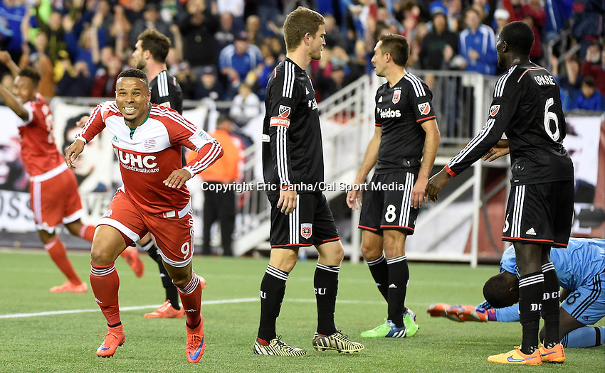 May 23, 2015 - Foxborough, Massachusetts, U.S. - New England Revolution forward Charlie Davies (9) and D.C. United goalkeeper Bill Hamid (28) react to Davies' first half goal during the MLS game between DC United and the New England Revolution held at Gillette Stadium in Foxborough Massachusetts. Eric Canha/CSM