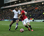 Chris Humphrey of Preston North End holds off Luke Shaw of Manchester United - FA Cup Fifth Round - Preston North End  vs Manchester Utd  - Deepdale Stadium - Preston - England - 16th February 2015 - Picture Simon Bellis/Sportimage