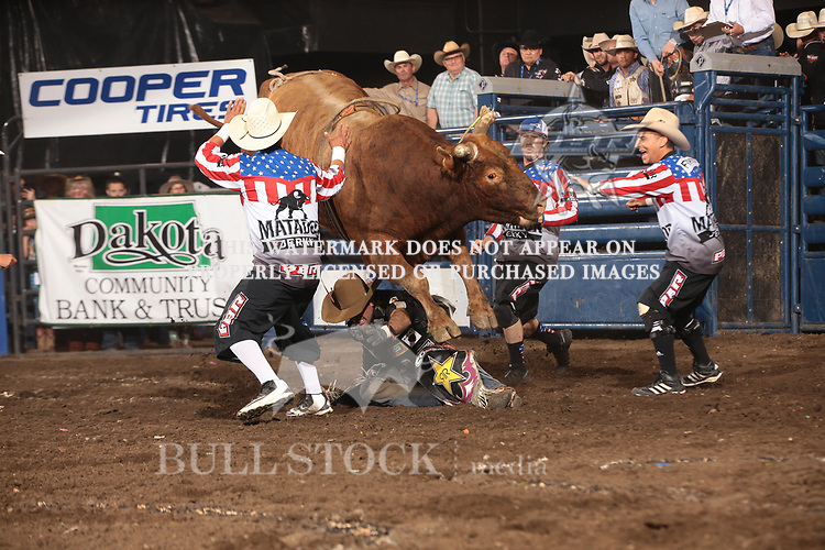 Fabiano Vieira rides Berger Bucking Bulls's Siouxper Stinger for 89 and Frank Newsom steps in during the second round of the Bismarck Real Time Pain Relief Velocity tour PBR. Photo by Andy Watson